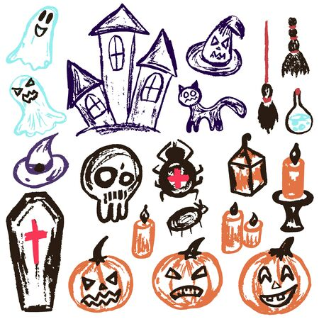 Halloween. A set of funny objects. Vector illustration. Collection of festive elements. Autumn holidays. Pumpkin, coffin, skull, candle, spider, broom, potion, ghosts, sinister castle, cat