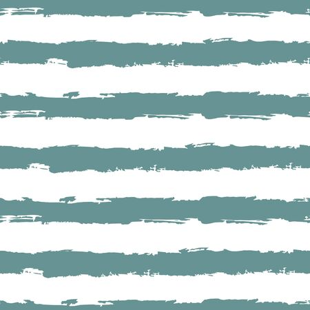 Striped seamless pattern. Abstract stripes. Hand drawing, brushes, blots. Modern textures. Original geometric background. Horizontal stripes. Blue and white Ilustracja