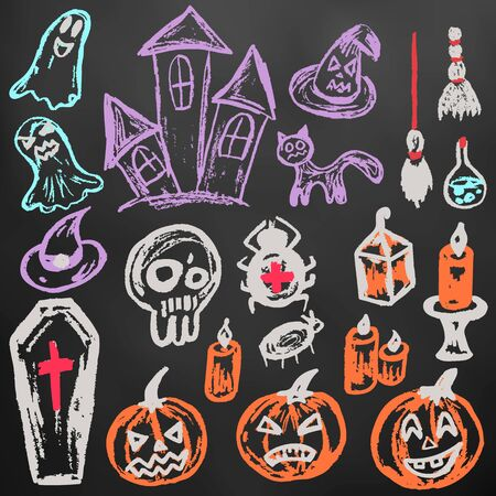 Halloween. A set of funny objects. Color chalk on a blackboard. Collection of festive elements. Autumn holidays. Pumpkin, coffin, skull, candle, spider, broom, potion, ghosts, sinister castle, cat