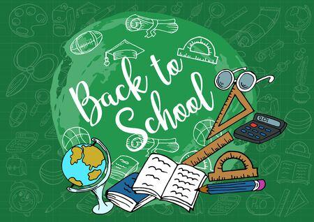 Welcome back to school. Design poster, banner, flyer. School supplies. Doodle, hand draw. Creative Vector Illustration Imagens - 128805008