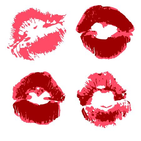 Vector set of illustrations. Lips, kisses, lipstick. Collection of romantic elements for graphic design