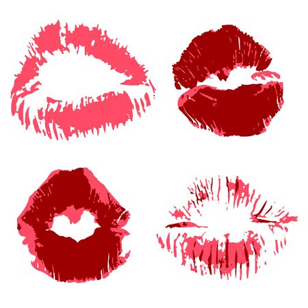Vector set of illustrations. Lips, kisses, lipstick. Collection of romantic elements for graphic design. Love kisses Illustration