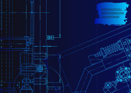 Technical abstract backgrounds. Blue neon. Mechanical instrument making