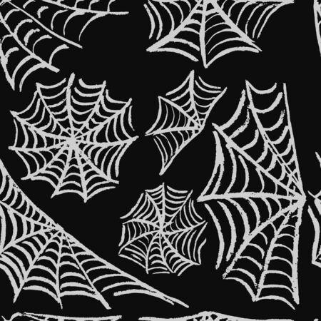 Halloween. Set cobwebs. White chalk Seamless pattern. Collection of festive elements. Autumn holidays  イラスト・ベクター素材