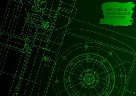 Cover, flyer. Vector engineering illustration. Blueprint, banner, background. Green neon. Mechanical