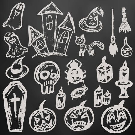 Halloween. A set of funny objects. White chalk on a blackboard. Collection of festive elements. Autumn holidays. Pumpkin, coffin, skull, candle, spider, broom, potion, ghosts, sinister castle, cat