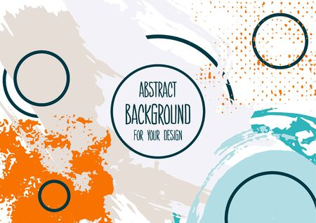 Universal background. Abstract background for your design. Cover, flyer, banner, web, print. Colorful elements Acrylic paints brushes blots geometric shapes