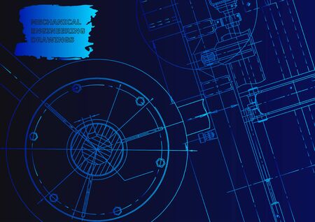 Cover, flyer, banner. Vector engineering illustration. Blue neon. Mechanical engineering drawing. Technical