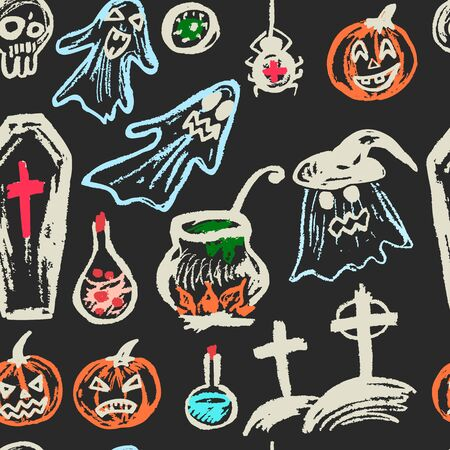 Halloween. Seamless pattern. Color chalk on a blackboard. Collection of festive elements. Autumn holidays. Ghosts, pumpkins, eyes, coffin, potion, skull, spider, cemetery, cauldron