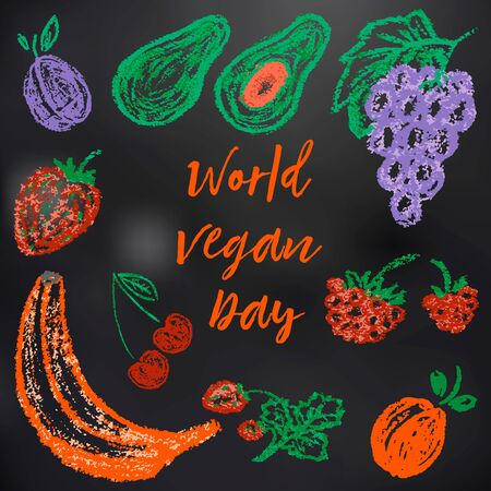 Child drawing with chalk on a black board. World Vegan Day. Plum, avocado, grapes, raspberries, strawberries, cherries, strawberries banana apricots
