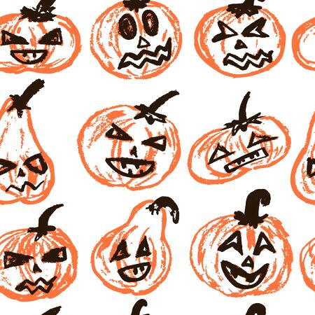 Halloween.  Vector Seamless pattern. A collection of funny faces. Autumn holidays. Fun, children