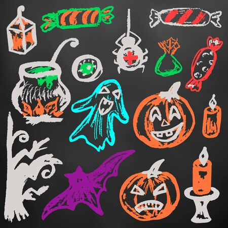 Halloween. A set of funny objects. Color chalk on a blackboard. Collection of festive elements. Autumn holidays. Pumpkin, ghost, spider, candy, eye, cauldron, wood, bat, candle