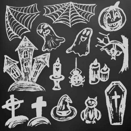Halloween. A set of funny objects. White chalk on a blackboard. Collection of festive elements. Autumn holidays. Pumpkin, spider web, ghosts, sinister castle, candle, owl, coffin, cemetery, tree, bat, spider