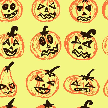 Halloween. Vector Seamless pattern. A collection of funny faces. Autumn holidays. Fun, children, traditions