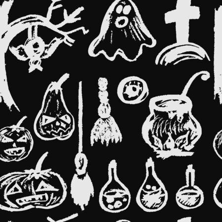 Halloween. Seamless Pattern. Collection of festive elements. Autumn holidays. Ghost, pumpkin, eye, potion, cemetery, cauldron, broom, tree, bat Stock Illustratie