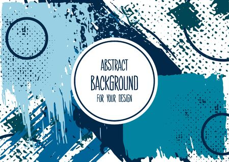 Universal background. Abstract background for your design. Cover, flyer, banner, web, print. Colorful elements. Acrylic paints, brushes, blots, geometric shape. Creative