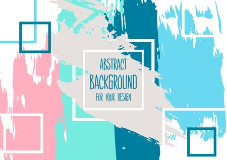 Universal background. Abstract background for your design. Colorful elements. Cover, flyer, banner, web, print Acrylic paints brushes blots geometric shape
