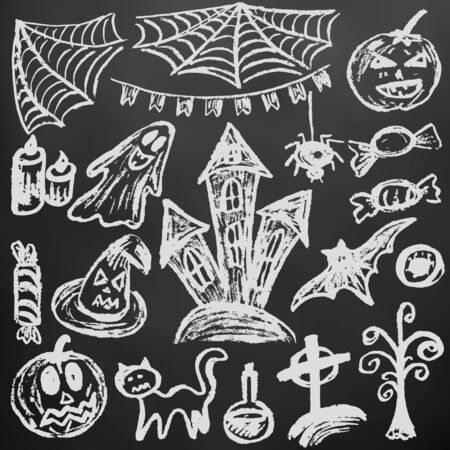 Halloween. A set of funny objects. White chalk on a blackboard. Collection of festive elements. Autumn holidays. Pumpkin, cobweb, flags, candle, ghost, sinister castle, eye, potion, tree, candy