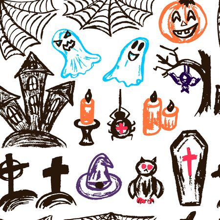 Halloween. Seamless Pattern. Collection of festive elements. Autumn holidays. Pumpkin, spider web, ghosts, sinister castle, candle, owl, coffin, cemetery, tree, bat, spider Ilustracja