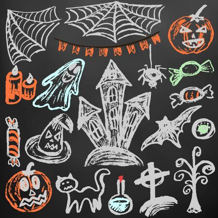 Halloween. A set of funny objects. Color chalk on a blackboard. Collection of festive elements. Autumn holidays. Pumpkin, cobweb, flags, candle, ghost, sinister castle, eye, potion, tree, candy Ilustracja