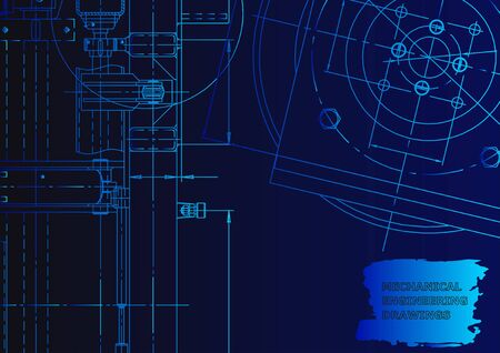 Vector engineering illustration. Mechanical engineering drawing. Technical Blue neon