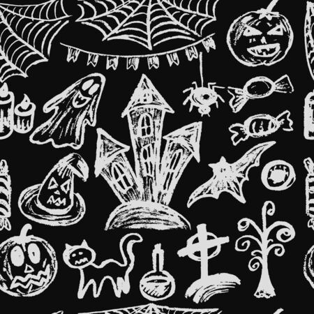 Halloween. Seamless Pattern. Collection of festive elements. Autumn holidays. Pumpkin, cobweb, flags, candle, ghost, sinister castle, eye, potion, tree, candy Ilustracja