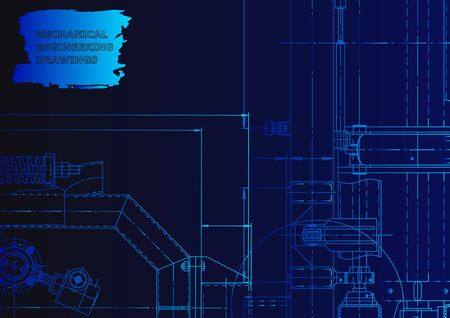 Machine-building industry. Mechanical engineering drawing. Blue neon. Computer aided design system Vetores