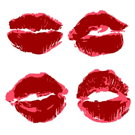 Vector set of illustrations. Lips, kisses, lipstick. Collection of elements for graphic design. Love kisses Illustration