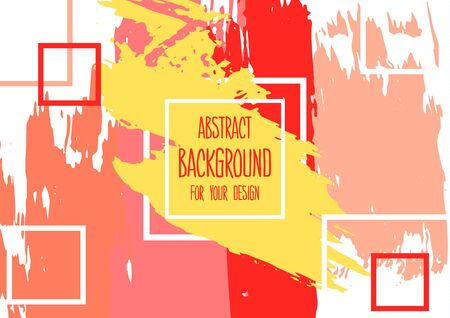 Universal background. Abstract background for your design. Colorful elements. Cover, flyer, banner, web, print. Acrylic paints, brushes, blots, geometric shape. Creative Ilustracja