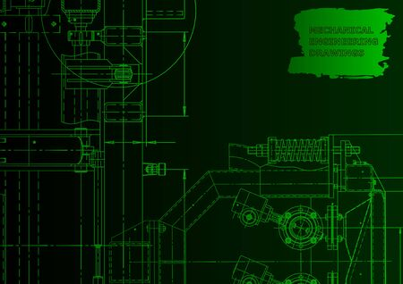 Machine-building industry. Instrument-making drawings. Computer aided design systems. Green neon. Blueprint, diagram, plan, sketch