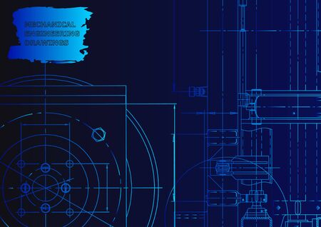 Vector engineering illustration. Technical illustrations, backgrounds. Blueprint Blue neon