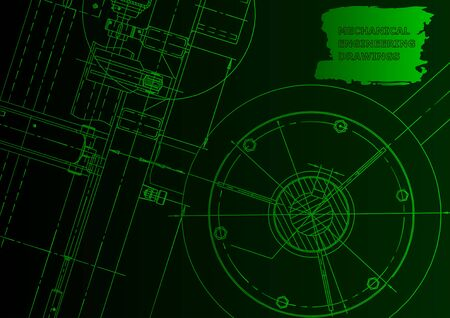Cover, flyer, banner. Vector engineering illustration. Blueprint, background. Green neon. Technical illustration