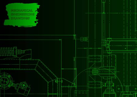 Machine-building industry. Mechanical engineering drawing. Green neon. Computer aided design system