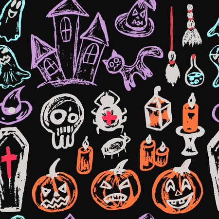Halloween. Seamless pattern. Collection of festive elements. Autumn holidays. Pumpkin, coffin, skull, candle, spider, broom, potion, ghosts, sinister castle, cat Ilustracja