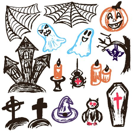 Halloween. A set of funny objects. Vector illustration. Collection of festive elements. Autumn holidays. Pumpkin, spider web, ghosts, sinister castle, candle, owl, coffin, cemetery, tree, bat, spider