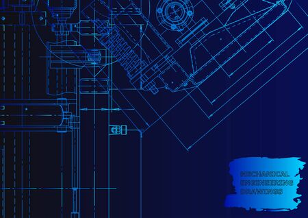 Machine-building industry. Mechanical engineering drawing. Blue neon. Technical illustrations