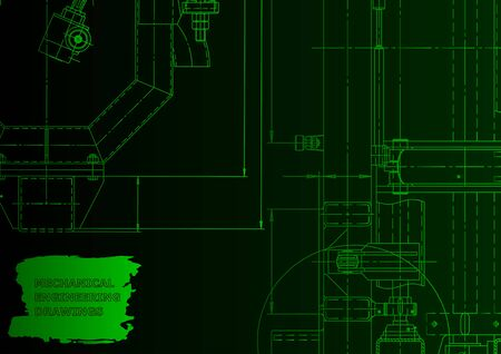 Mechanical engineering drawing. Machine-building industry. Instrument-making. Green neon