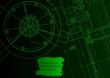 Cover, flyer, banner. Vector engineering illustration. Green neon, background. Instrument-making Vetores