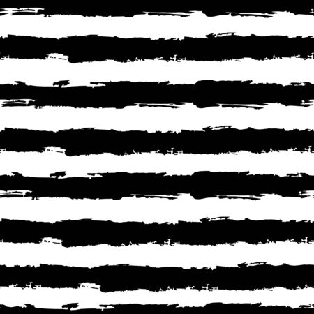 Striped seamless pattern. Abstract stripes. Hand drawing, brushes, blots. Modern textures. Original geometric background. Horizontal stripes. Black and white drawing