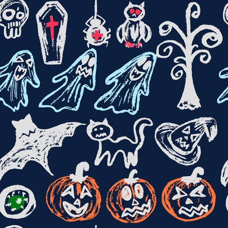 Halloween. A set of funny objects. Seamless pattern. Collection of festive elements. Autumn holidays. Pumpkin, eye, coffin, tree, bat, spider, cat, witch hat, owl, skull, ghosts Ilustracja
