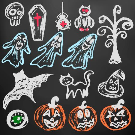 Halloween. A set of funny objects. Color chalk on a blackboard. Collection of festive elements. Autumn holidays. Pumpkin, eye, coffin, tree, bat, spider, cat, witch hat, owl, skull, ghosts 矢量图像