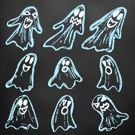 Halloween. Set of ghosts. Color chalk on a blackboard. A collection of funny faces. Autumn holidays. Fun, children, traditions