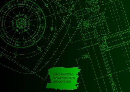 Cover. Vector engineering illustration. Blueprint, flyer, banner, Green neon. Mechanical engineering drawing. Technical illustration Vetores