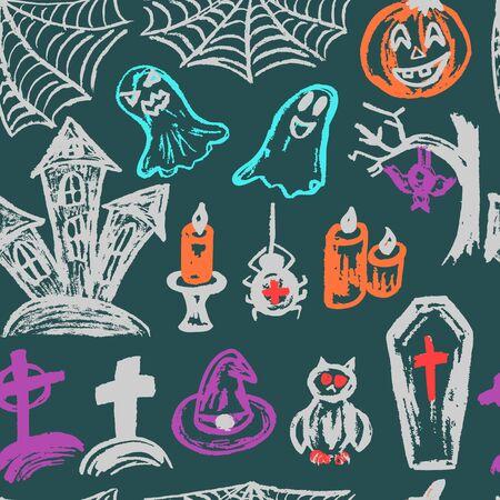 Halloween. A set of funny objects. Seamless pattern. Collection of festive elements. Autumn holidays. Pumpkin, spider web, ghosts, sinister castle, candle, owl, coffin, cemetery, tree, bat, spider