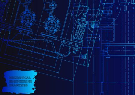 Machine-building industry. Mechanical engineering drawing. Blue neon. Technical illustrations, backgrounds Vetores