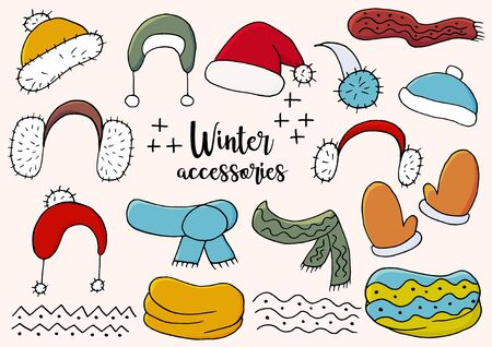 Winter accessories. Winter season elements for your design. A collection of hats, scarves, snoods, mittens, isolated and grouped. Light and shadow