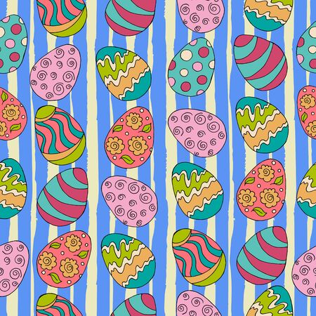 Festive textiles packaging. Seamless pattern, background. Easter illustration. Happy Easter. Hand drawing. Spring holidays