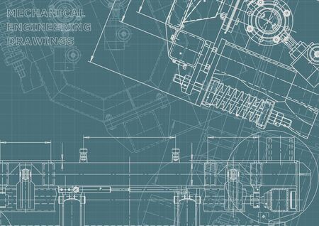 Corporate Identity. Computer aided design systems. Technical illustrations, background. Mechanical