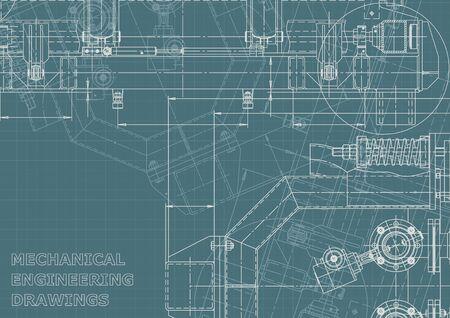 Corporate Identity. Blueprint, scheme, plan, sketch. Technical illustrations, backgrounds. Mechanical engineering drawing Vektoros illusztráció