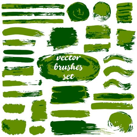 Collection of dirty elements for your design. Large set of two-color strokes, brushes, dots, inks, strokes and lines. Vector illustration isolated on white background. Green shades